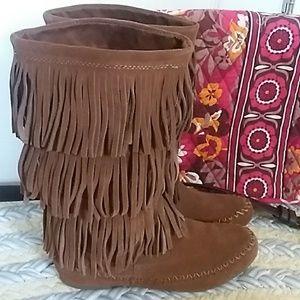 Brown Suede Fringe Boot